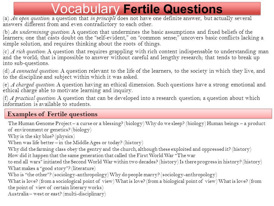 Vocabulary Fertile Questions