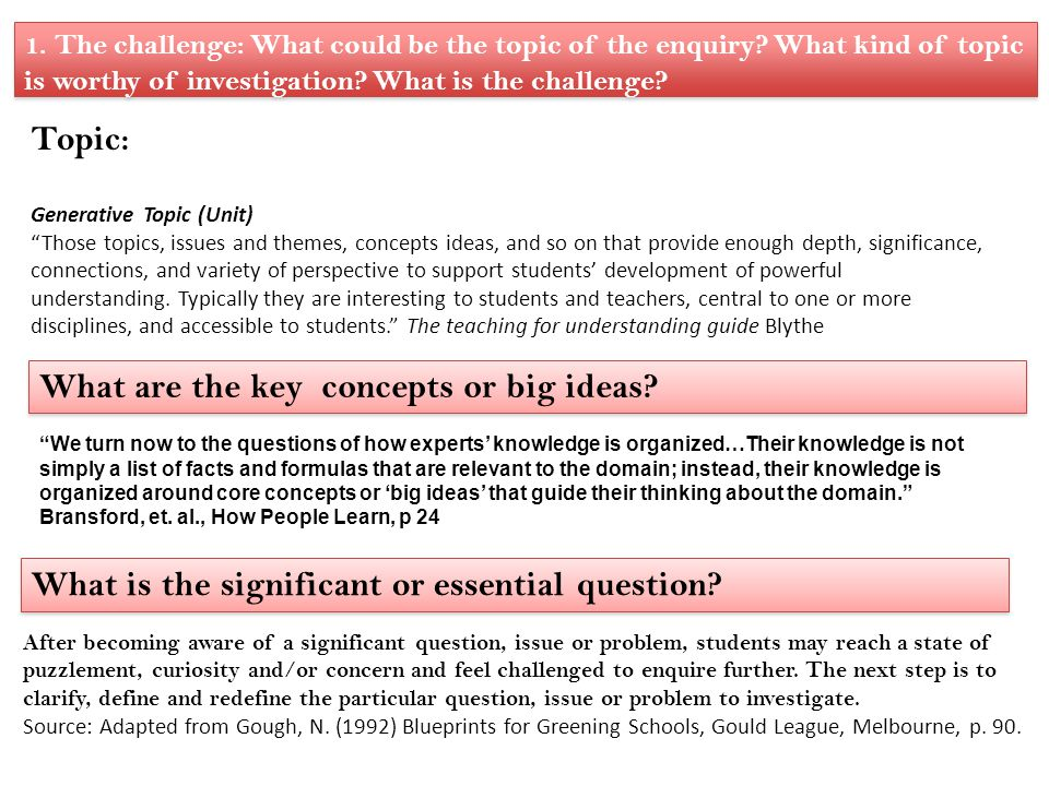 What are the key concepts or big ideas