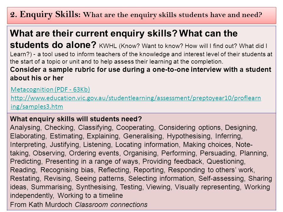 2. Enquiry Skills: What are the enquiry skills students have and need