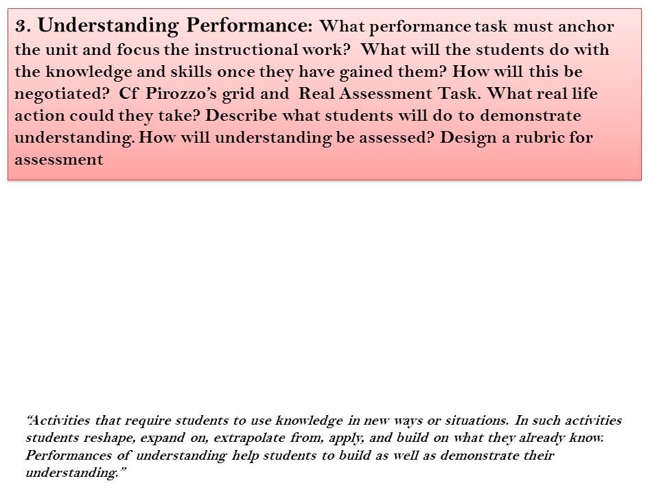 3. Understanding Performance: What performance task must anchor the unit and focus the instructional work What will the students do with the knowledge and skills once they have gained them How will this be negotiated Cf Pirozzo's grid and Real Assessment Task. What real life action could they take Describe what students will do to demonstrate understanding. How will understanding be assessed Design a rubric for assessment