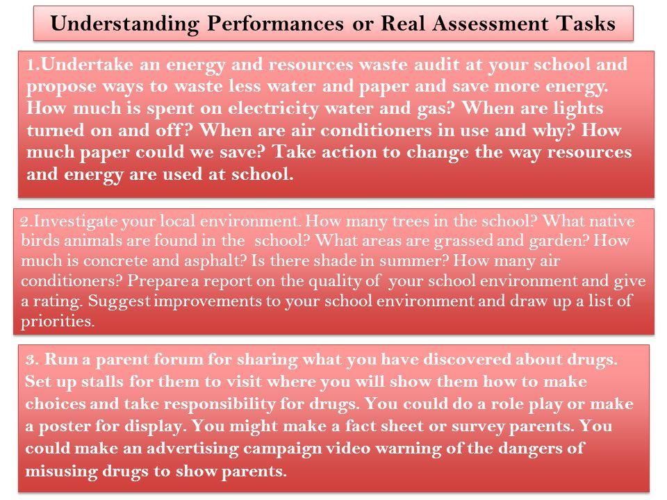 Understanding Performances or Real Assessment Tasks