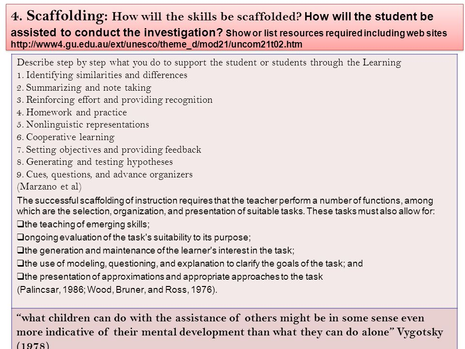4. Scaffolding: How will the skills be scaffolded