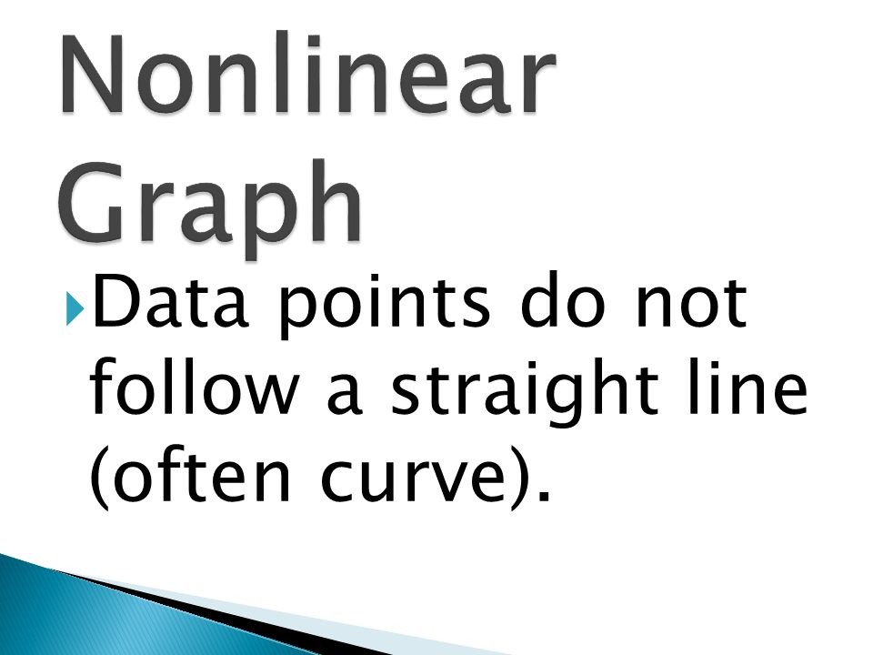 Nonlinear Graph Data points do not follow a straight line (often curve).