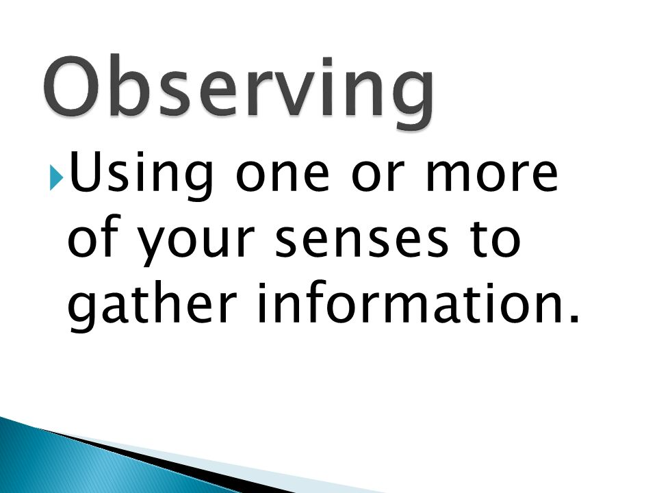 Observing Using one or more of your senses to gather information.