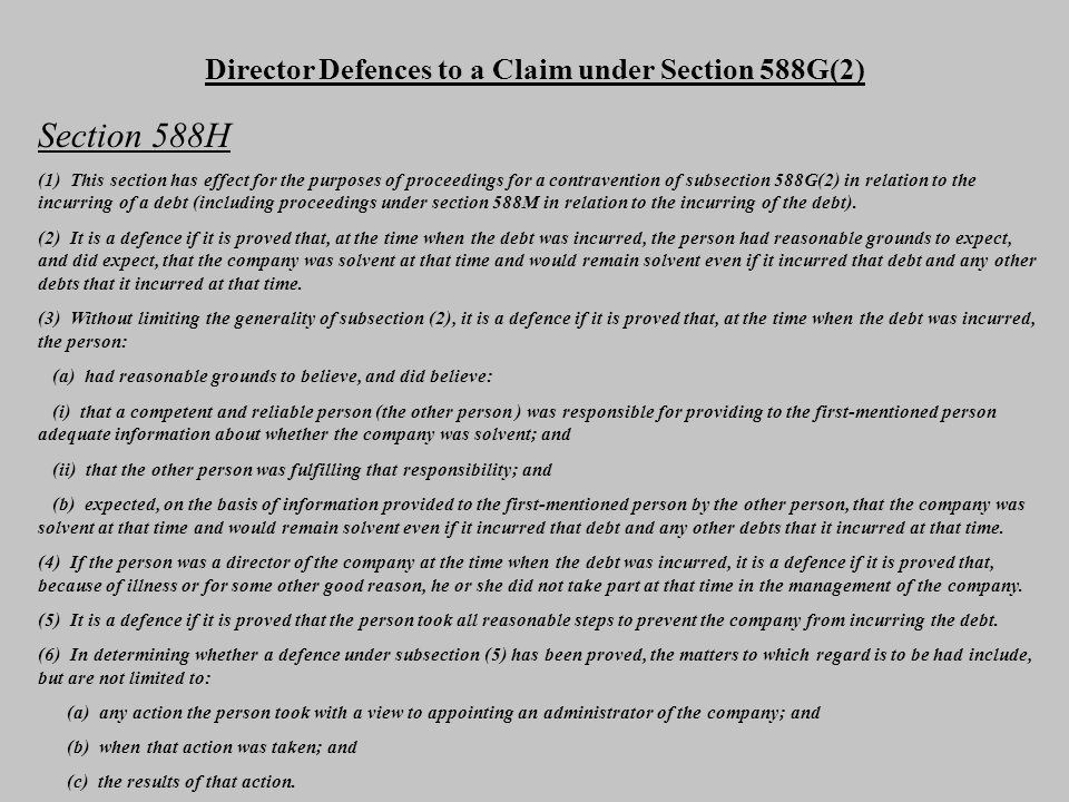 Director Defences to a Claim under Section 588G(2)