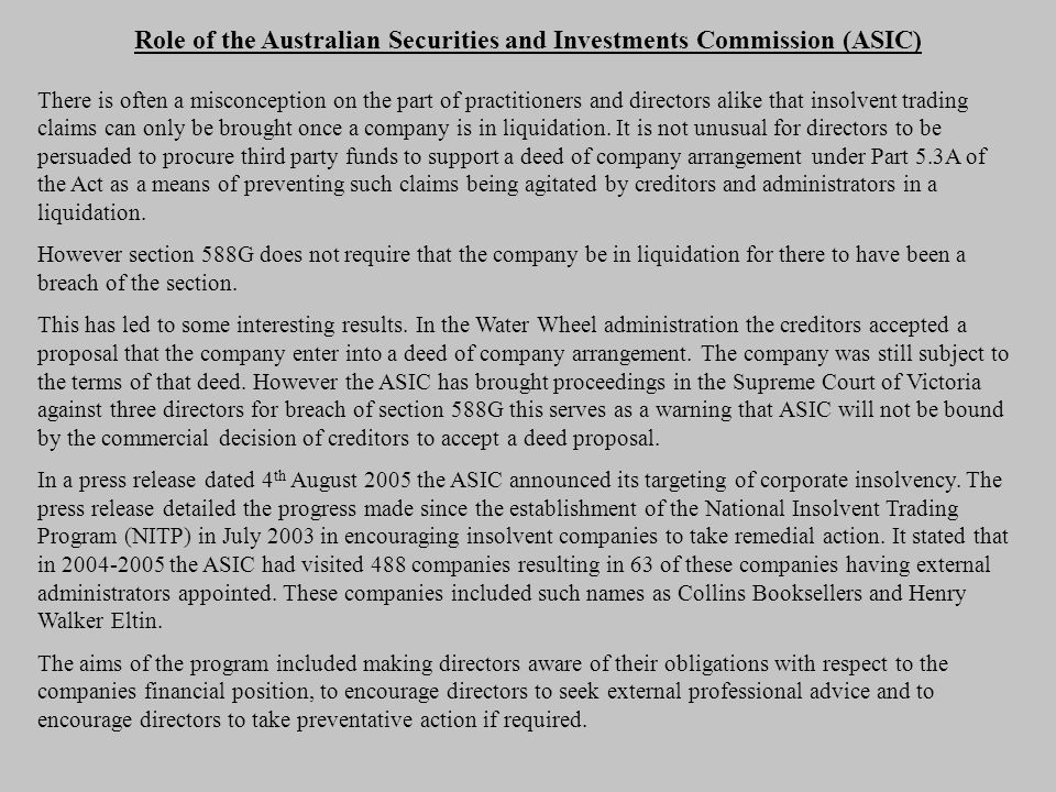 Role of the Australian Securities and Investments Commission (ASIC)