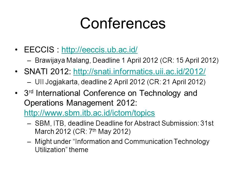 Conferences EECCIS : http://eeccis.ub.ac.id/