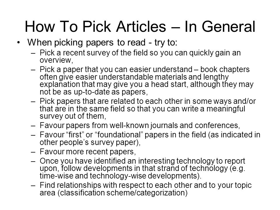 How To Pick Articles – In General