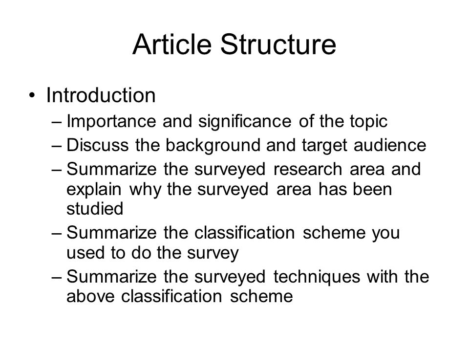 Article Structure Introduction