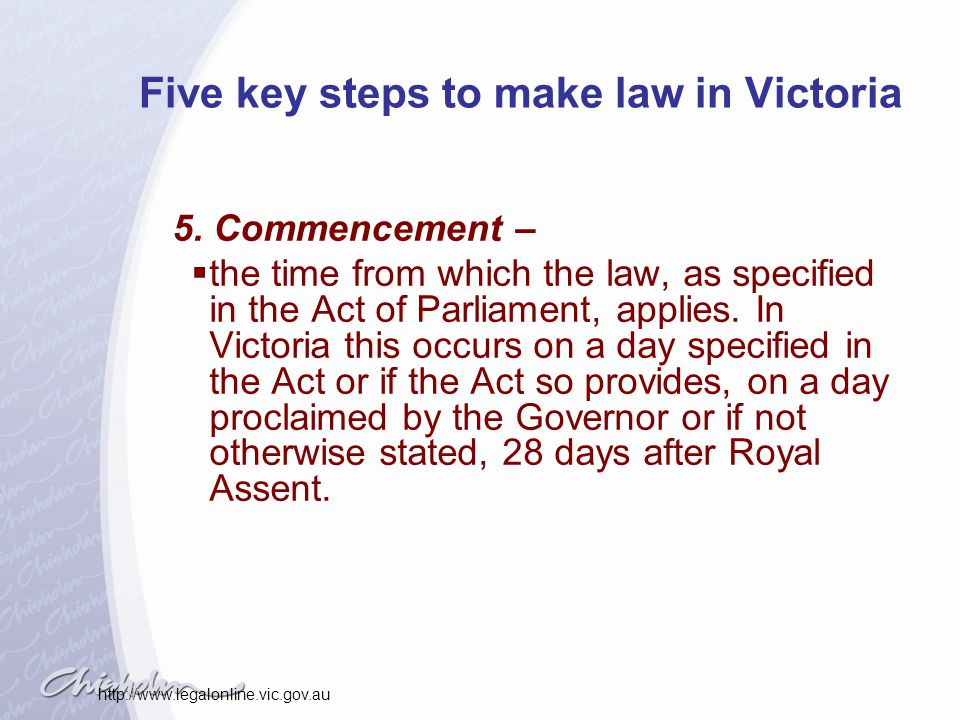 Five key steps to make law in Victoria