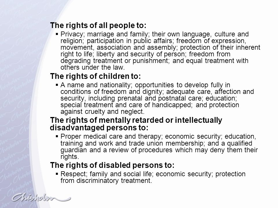 The rights of all people to: