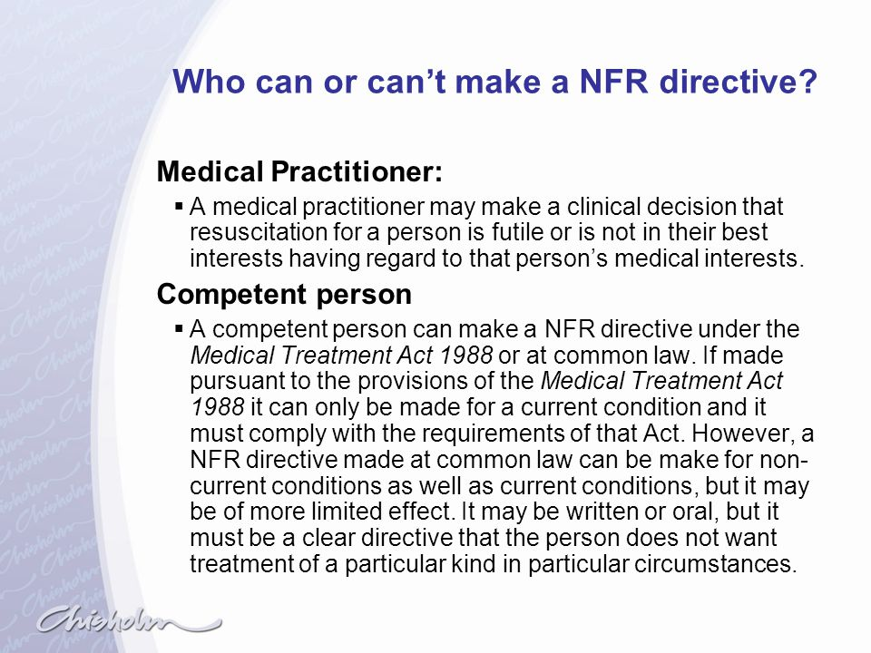 Who can or can't make a NFR directive