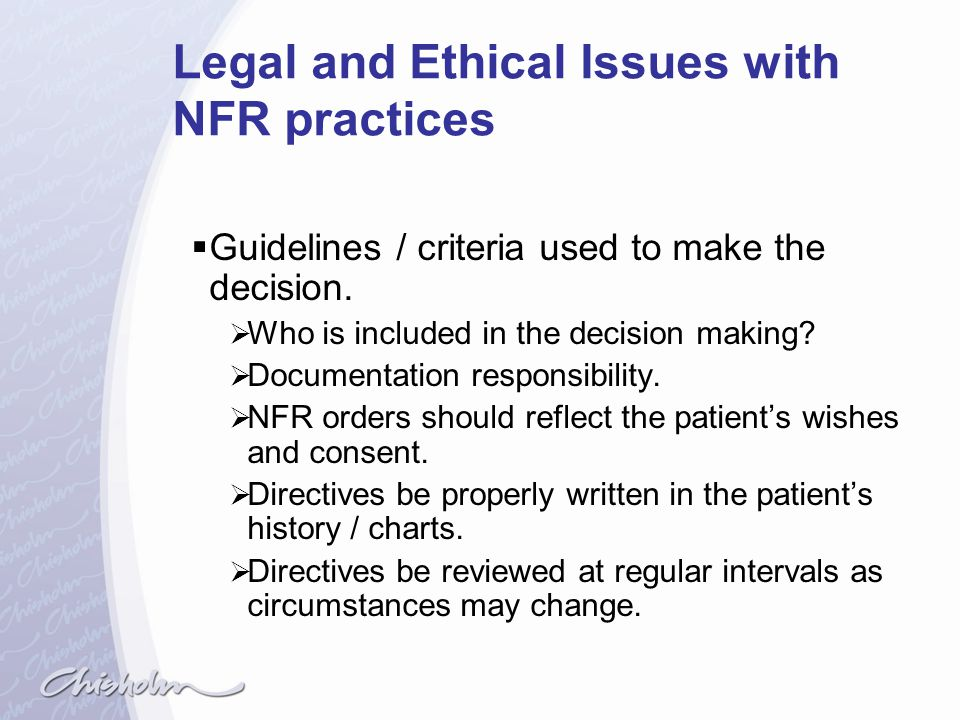 Legal and Ethical Issues with NFR practices