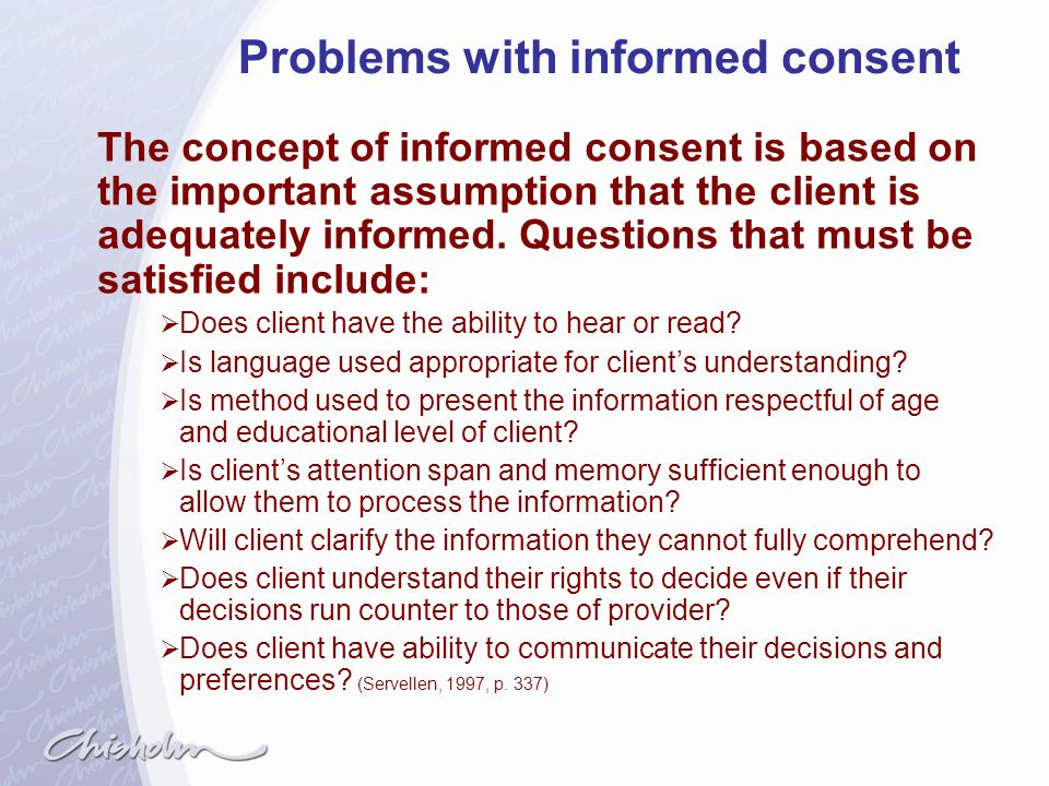 Problems with informed consent