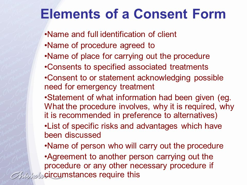 Elements of a Consent Form