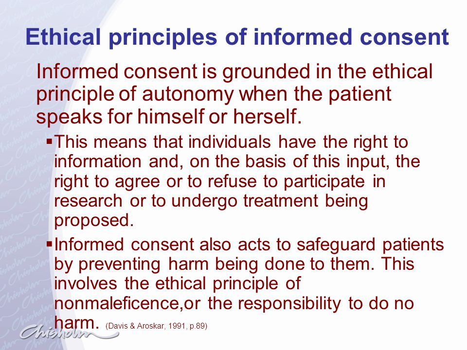 Ethical principles of informed consent