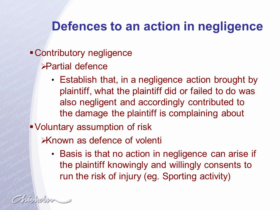 Defences to an action in negligence