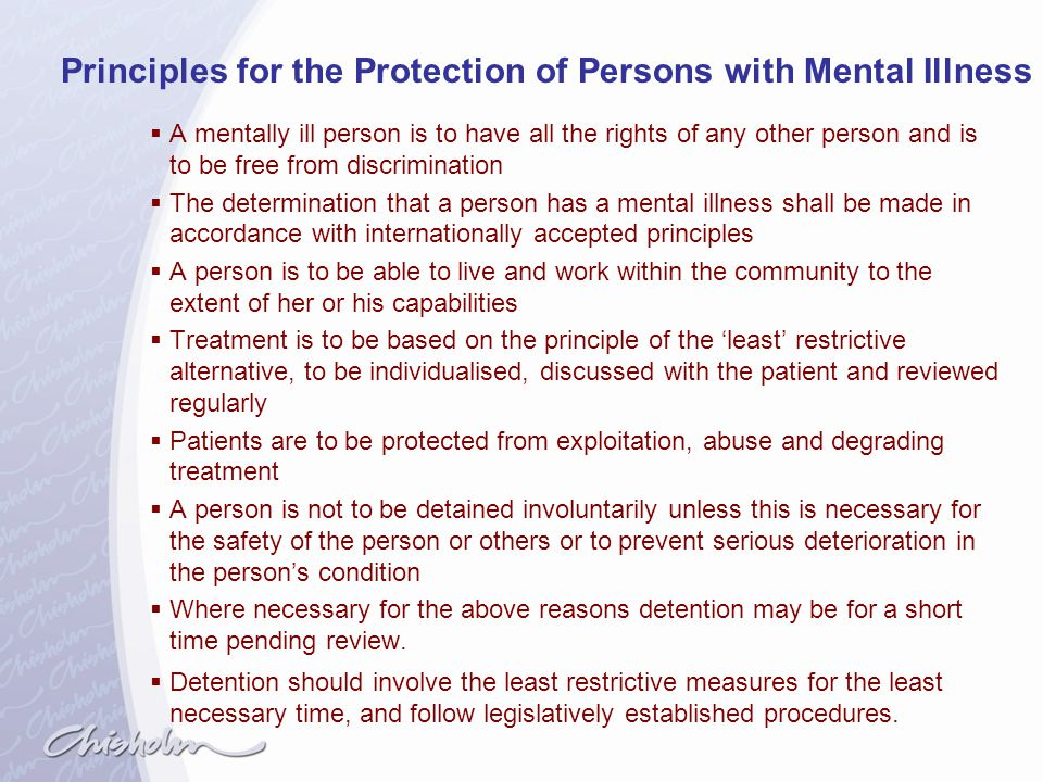 Principles for the Protection of Persons with Mental Illness