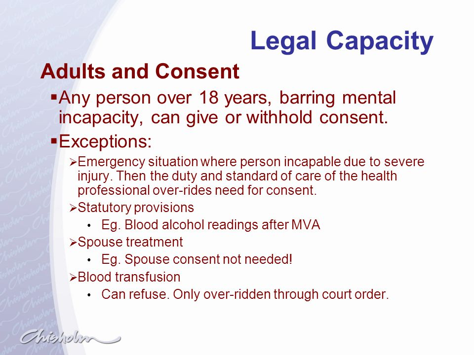 Legal Capacity Adults and Consent