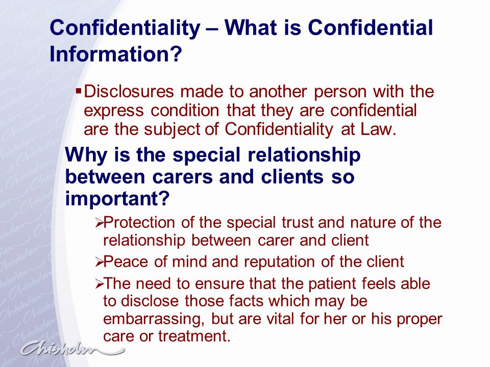 Confidentiality – What is Confidential Information