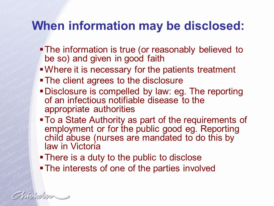 When information may be disclosed: