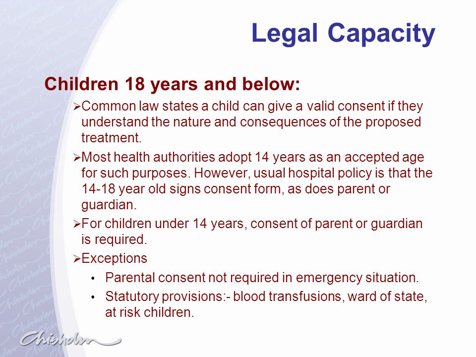 Legal Capacity Children 18 years and below: