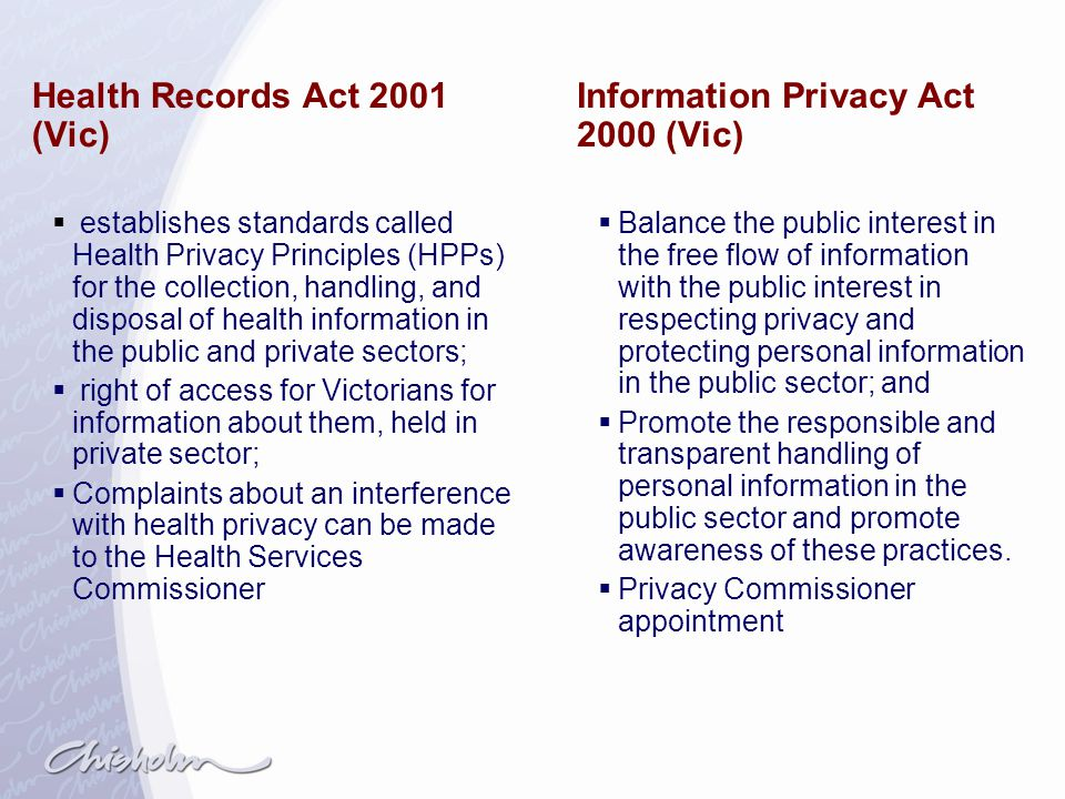 Health Records Act 2001 (Vic) Information Privacy Act 2000 (Vic)