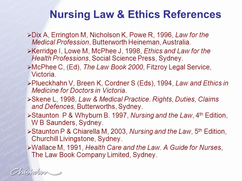 Nursing Law & Ethics References