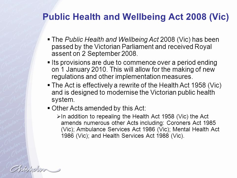 Public Health and Wellbeing Act 2008 (Vic)