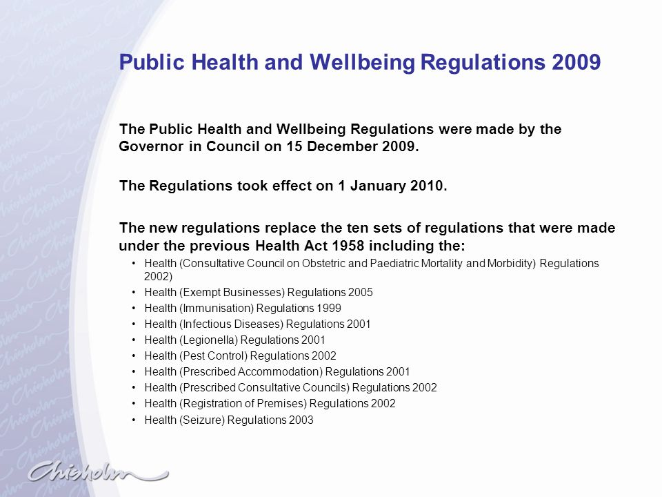 Public Health and Wellbeing Regulations 2009