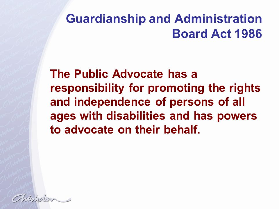 Guardianship and Administration Board Act 1986