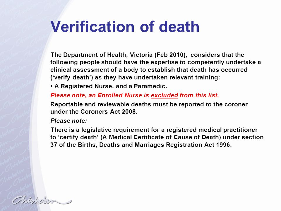 Verification of death