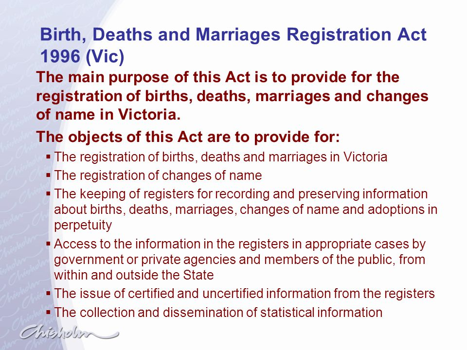 Birth, Deaths and Marriages Registration Act 1996 (Vic)