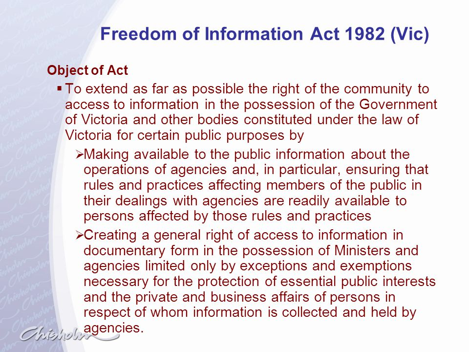 Freedom of Information Act 1982 (Vic)