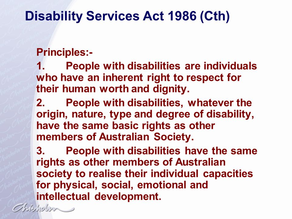 Disability Services Act 1986 (Cth)