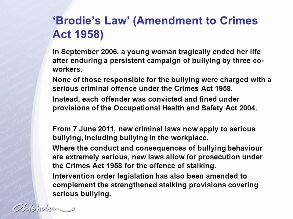 'Brodie's Law' (Amendment to Crimes Act 1958)