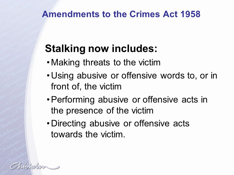 Amendments to the Crimes Act 1958