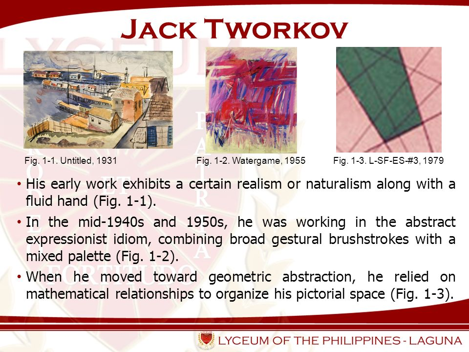 Jack Tworkov Fig. 1-1. Untitled, 1931. Fig. 1-2. Watergame, 1955. Fig. 1-3. L-SF-ES-#3, 1979.