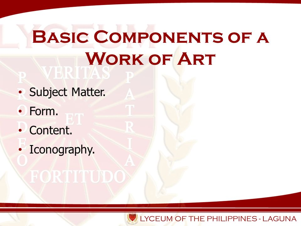 Basic Components of a Work of Art