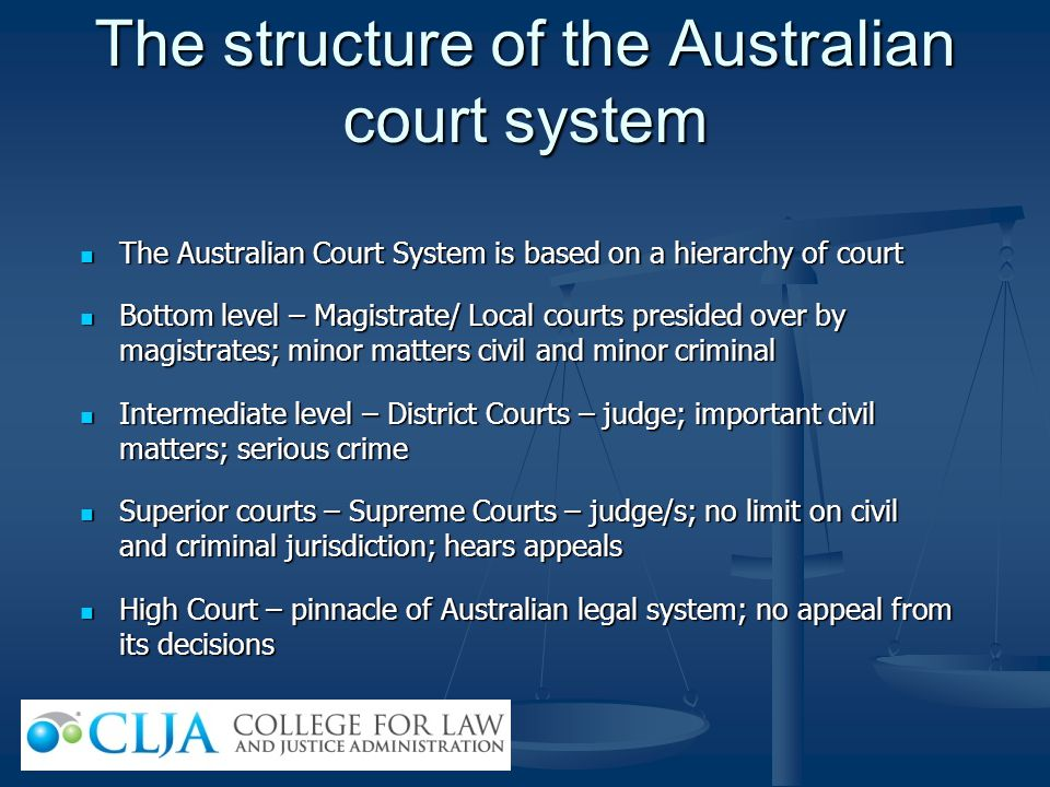The structure of the Australian court system