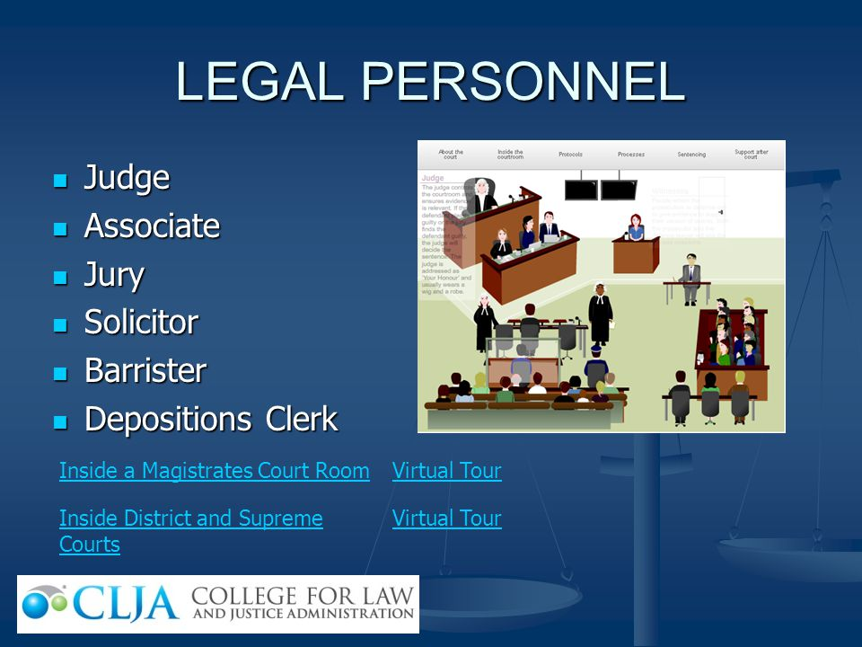 LEGAL PERSONNEL Judge Associate Jury Solicitor Barrister