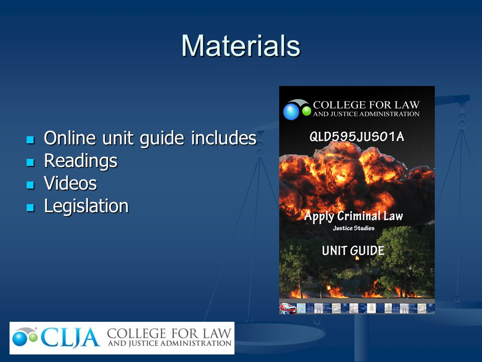 Materials Online unit guide includes Readings Videos Legislation