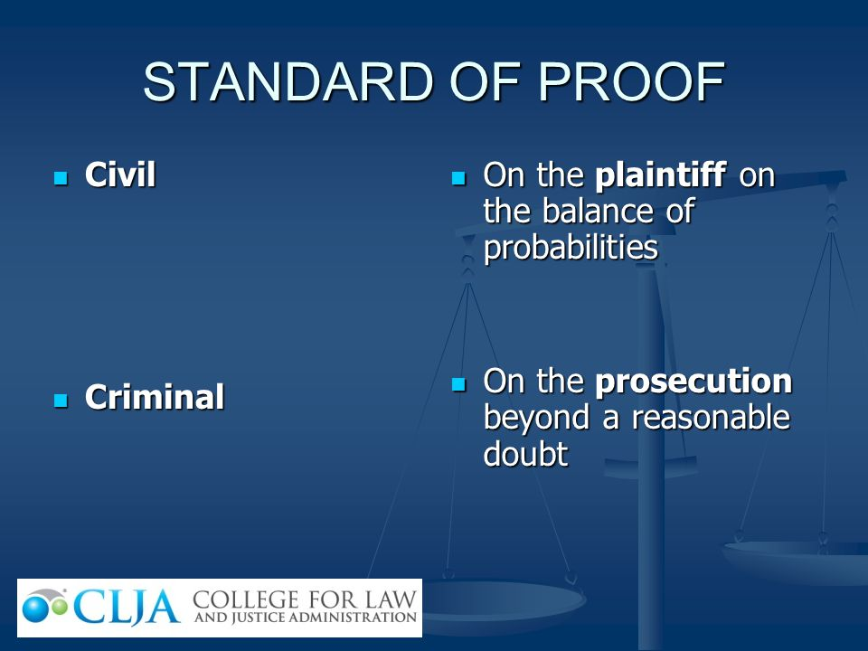 STANDARD OF PROOF Civil Criminal