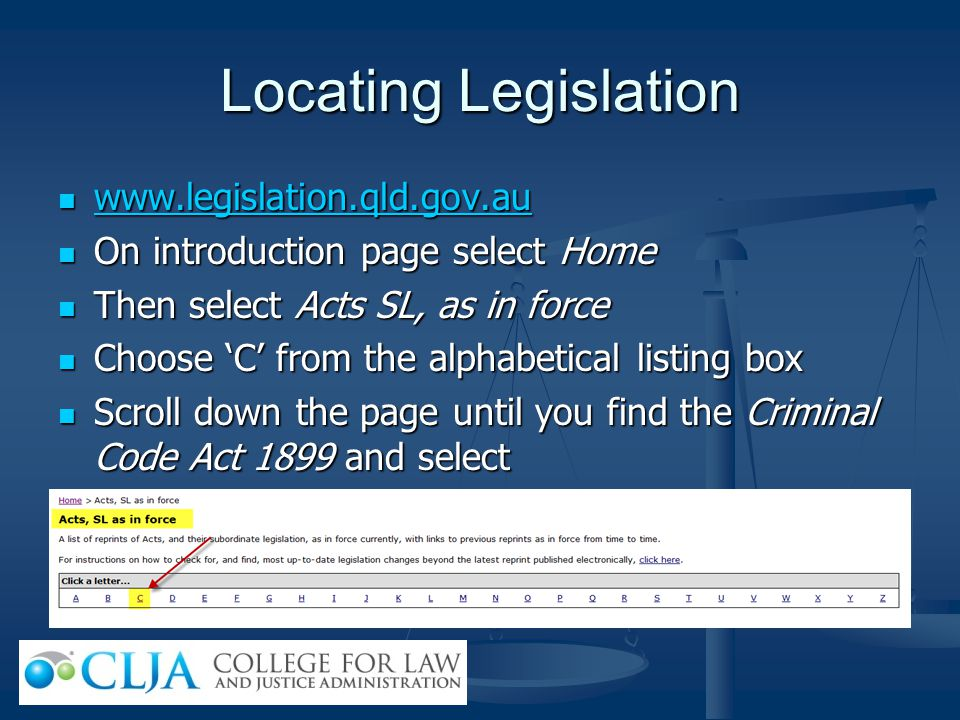 Locating Legislation www.legislation.qld.gov.au