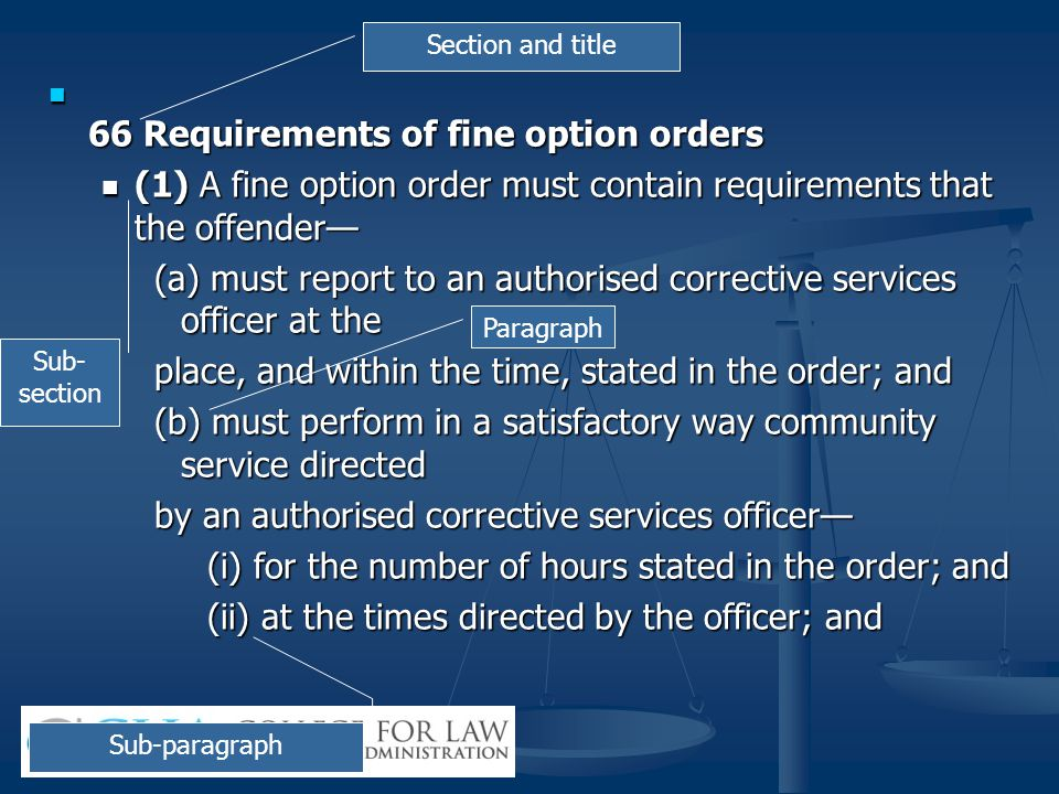 66 Requirements of fine option orders