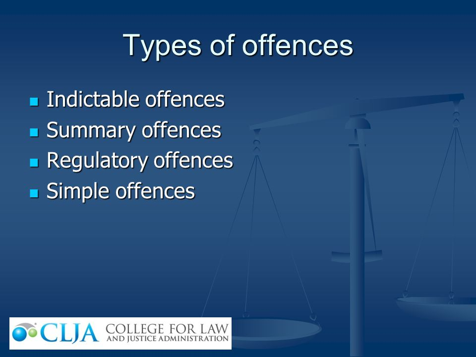 Types of offences Indictable offences Summary offences