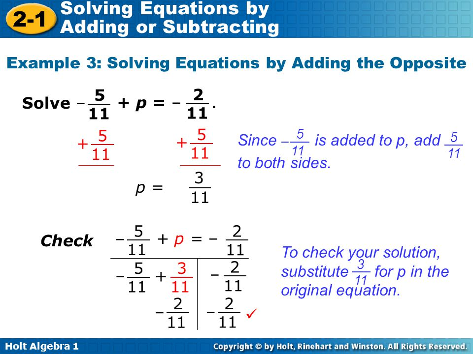 Example 3: Solving Equations by Adding the Opposite
