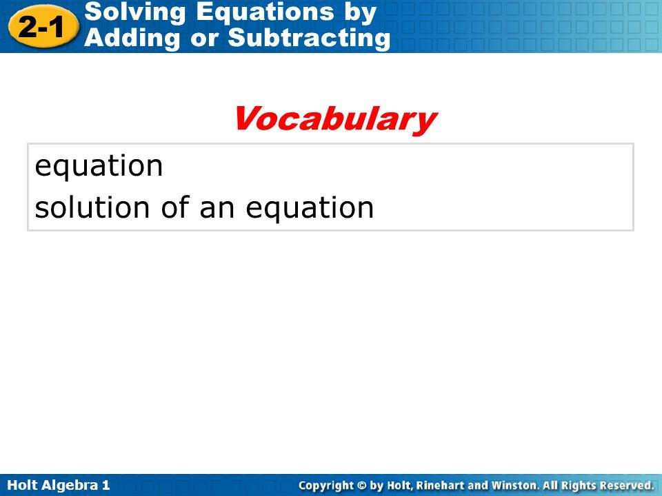 Vocabulary equation solution of an equation