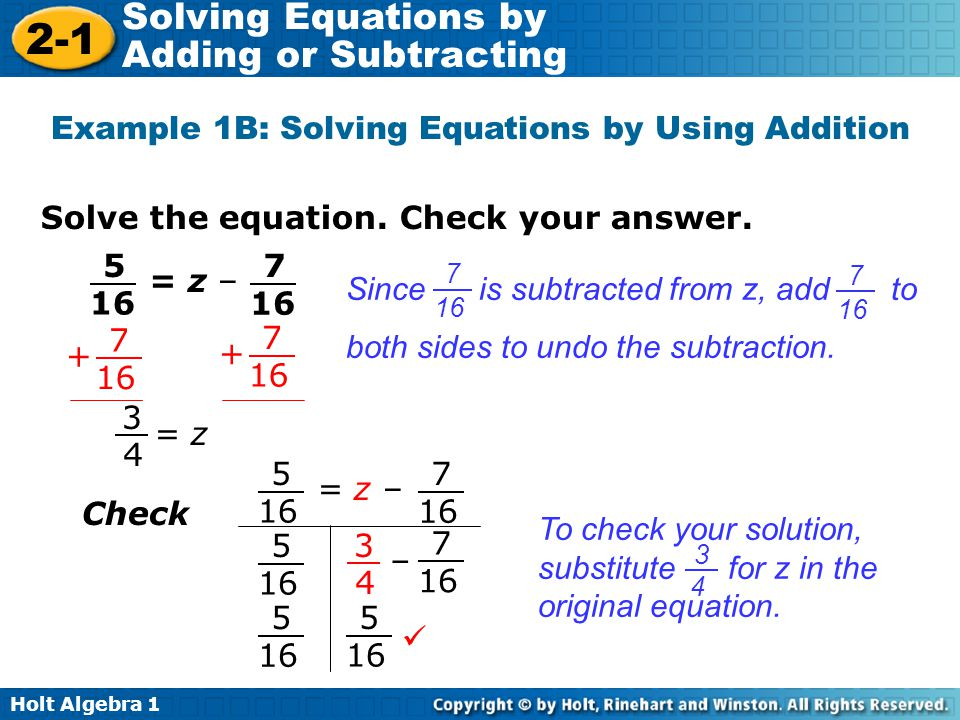 Example 1B: Solving Equations by Using Addition
