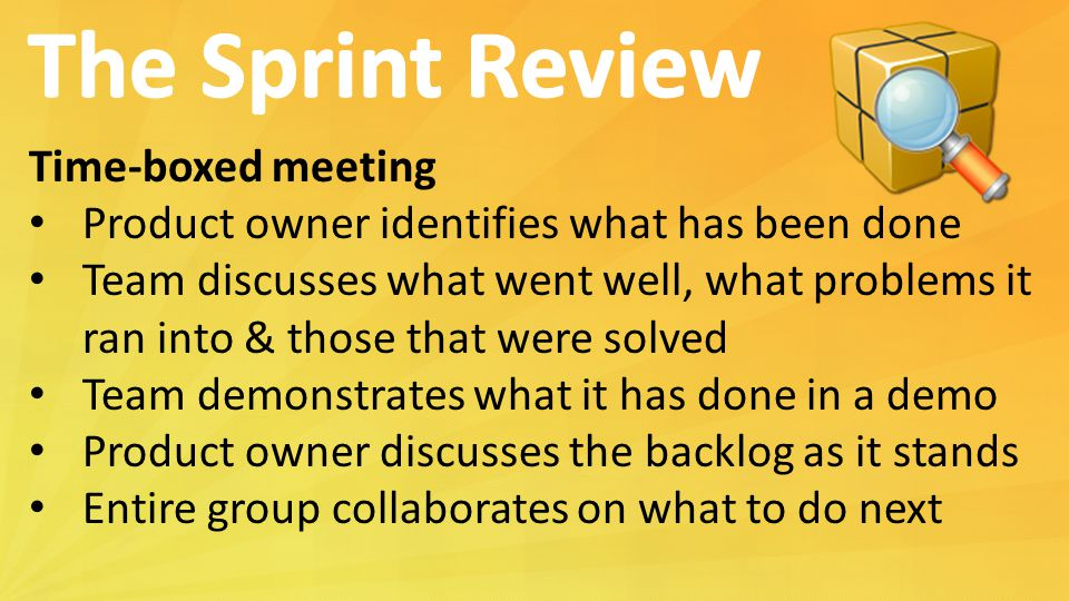 The Sprint Review Time-boxed meeting